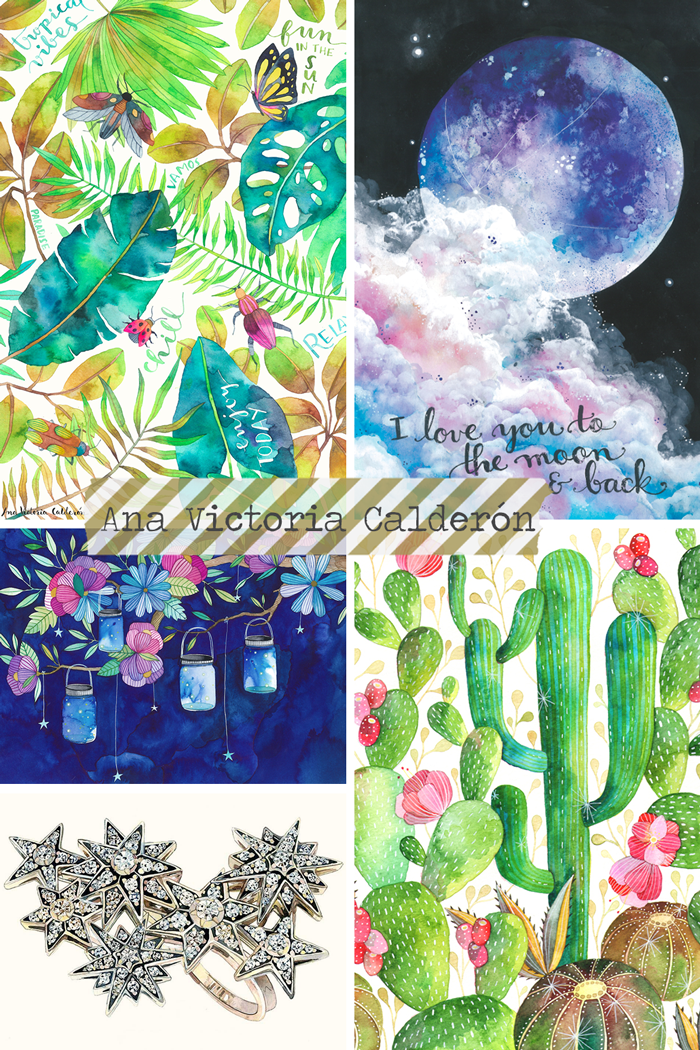Ana Victoria Calderón Mexican painter and illustrator, watercolor, ink, acrylic, art, artist, space, flowers, foliage, cacti, jewels, jewelry