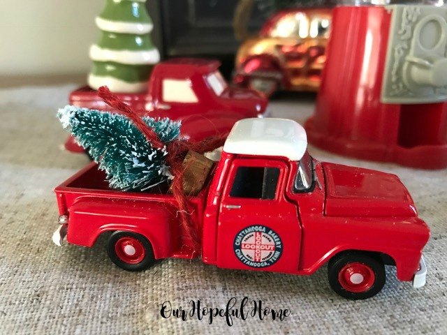 farmhouse Christmas decor dining room mini red pick-up truck bottle brush tree