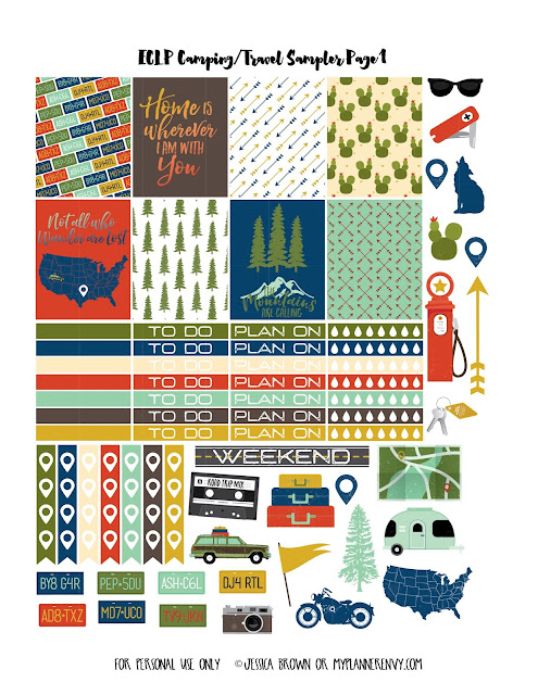 Free Printable Camping/Travel Sampler Page 1 for the Vertical Erin Condren on myplannerenvy.com