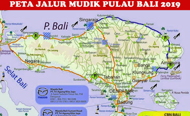 image: Peta Jalur Mudik Bali 2019