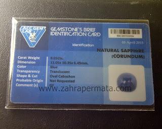 Batu Permata Blue Safir + Memo - ZP 454