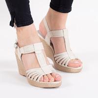 Sandale Piele Molloy bej cu platforma ortopedica • modlet