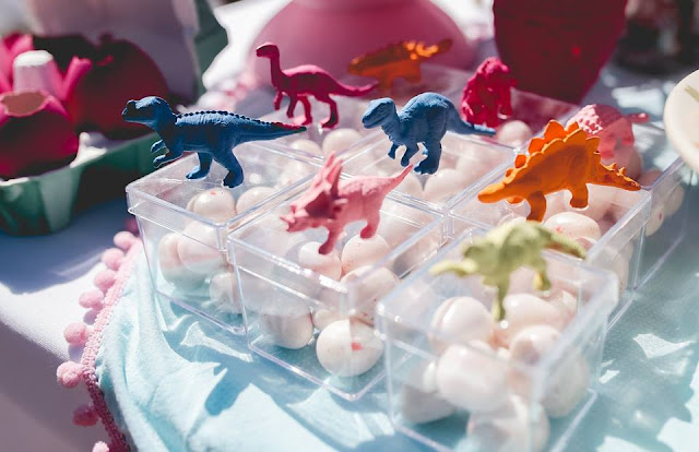 Aniversário Tema Dinossauro - Meninas - DIY - potinho de dinossauro