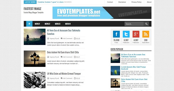 fastest magz template blogger