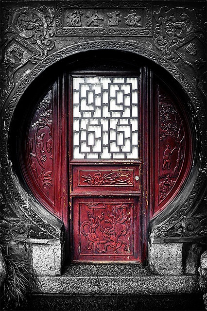 Awesome red colored door in Shanghai, China.
