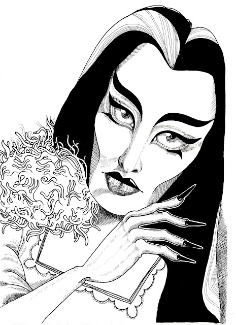 Lily Munster Ink Illustration