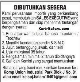 Lowongan Kerja Sales Executive Kota Batam