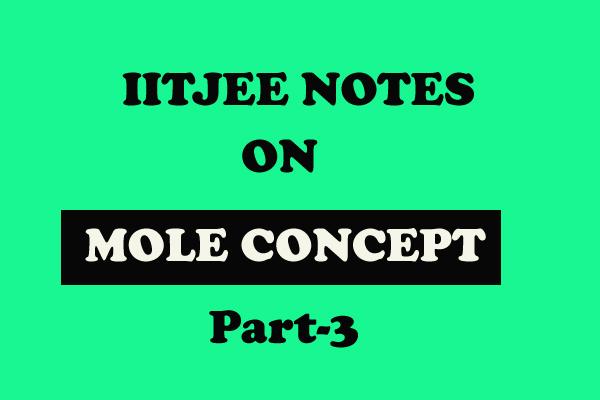 Mole Concept Notes IITJEE