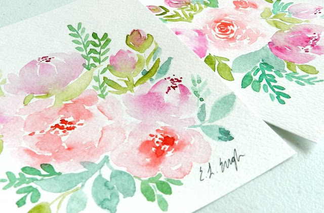 Two watercolor flower paintings by Elise Engh