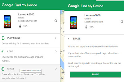 google device manager erase
