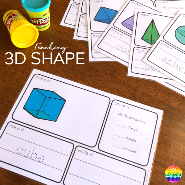 Printable 3D Shape Playdough Mats | you clever monkey