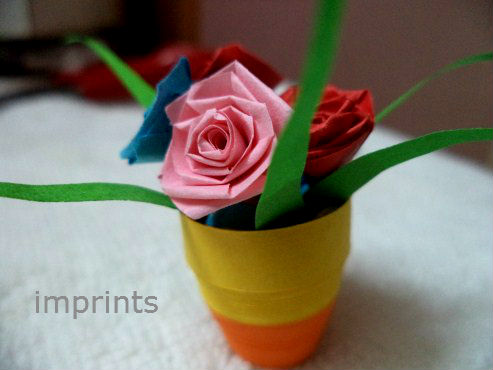 Imprints handmade how to make paper quill flower pot paper quill roses mightylinksfo