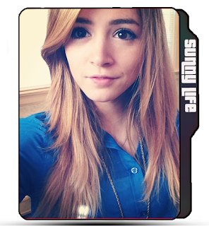 Cute girl folder icon, blonde Crissy Costanza, blue shirt, Singer, Against the current band.