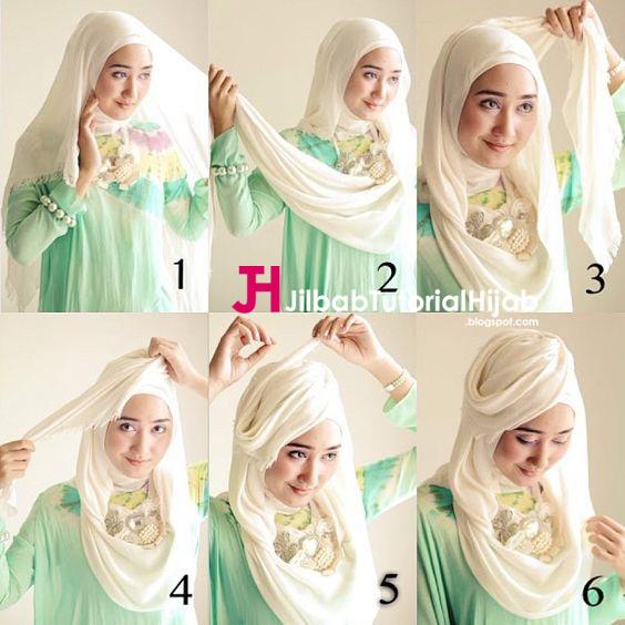 Kumpulan Gambar Tutorial Cara Memakai Hijab turban