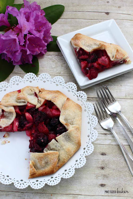 This Rhubarb and Mixed Berry Galette is the perfect dessert for four. Everyone gets a generous slice and a serving of fruit!