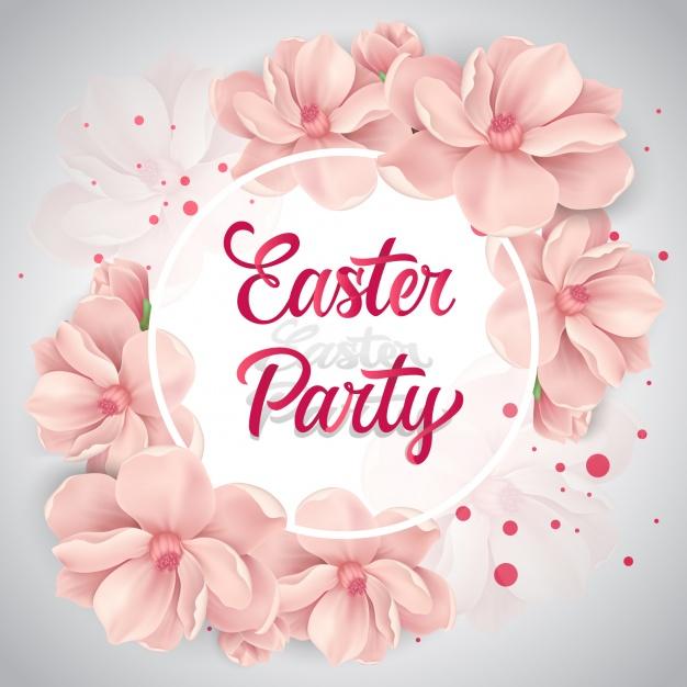 Easter flower background design Free Vector