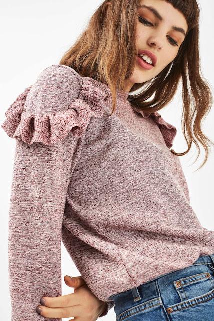 pink ruffle jumper, pink frill jumper,