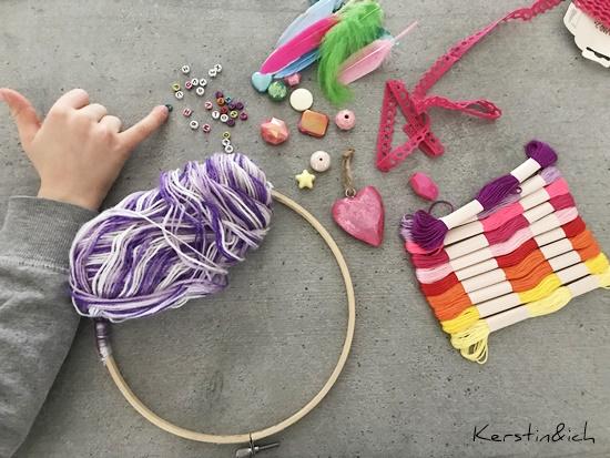 Traumfänger Kinder DIY Deko Dreamcatcher Selbermachen Matterial