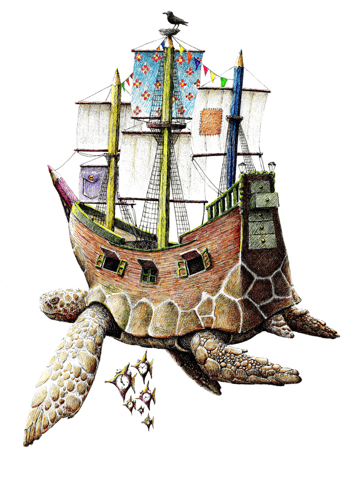 22-Sea-Turtle-Ship-Redmer-Hoekstra-Drawing-Fantastic-and-Surreal-World-of-Hoekstra-www-designstack-co