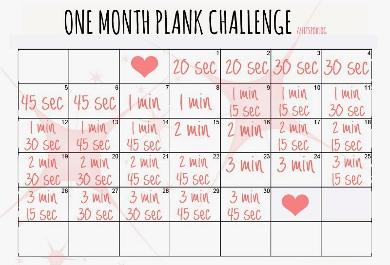Fitspoblog: Printable One Month Plank Challenge ♥