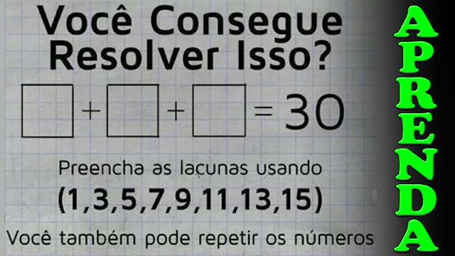 soma de 3 numeros impares igual a 30 resposta