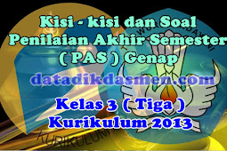 Soal PAS / UKK Kelas 3 Semester 2 Kurikulum 2013