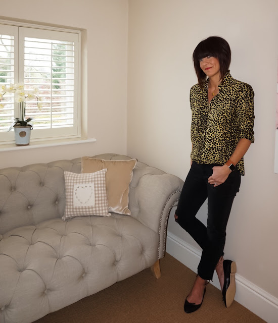 My Midlife Fashion, Topshop Cheetah print casual shirt, harry rocks entwined initials necklace, zara cropped distressed cigarette jeans, zara pointed ballet pumps