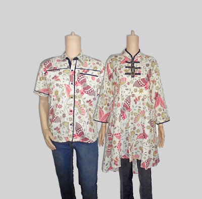 Seragam batik pasangan, baju batik couple dress kancing koin