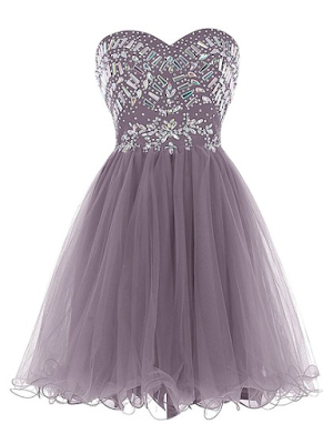 A-line Sweetheart Tulle Short/Mini Cascading Ruffles Prom Dresses