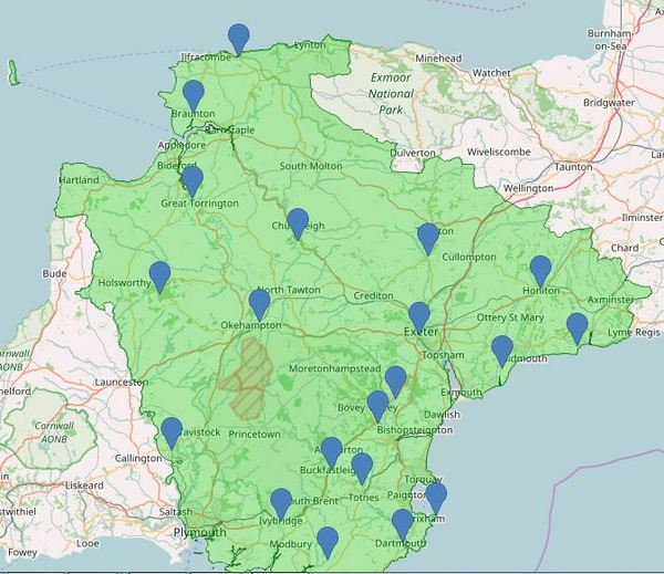 Devon Bat Survey Location Map