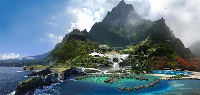 Parcul de distracţii complet funcțional, de pe Isla Nublar
