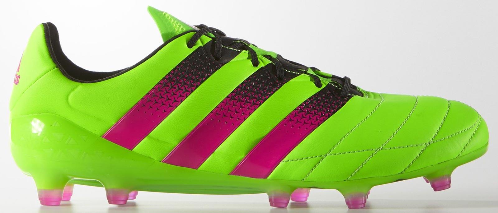 3cda260a5c5e Next-Gen Adidas Ace 16.1 Leather Solar Green   Shock Pink   Black