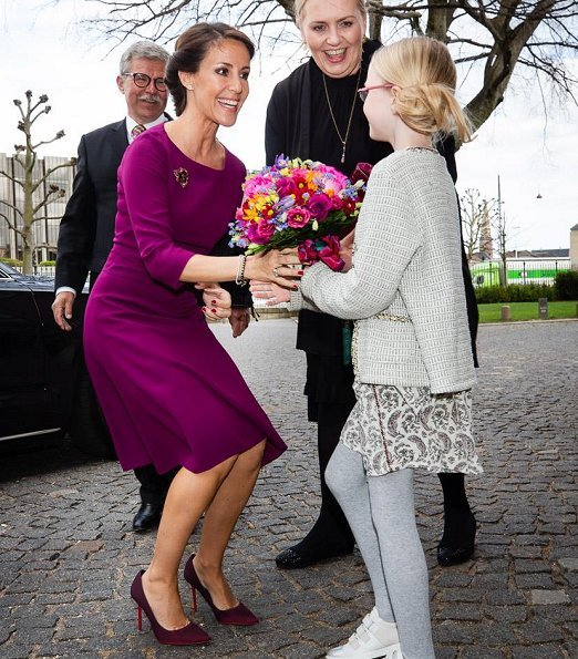 Princess Marie wore HUGO BOSS Kusima Fitted Dress. At concert, Princess Marie wore a claret red dress from Kusima collection of Hugo Boss