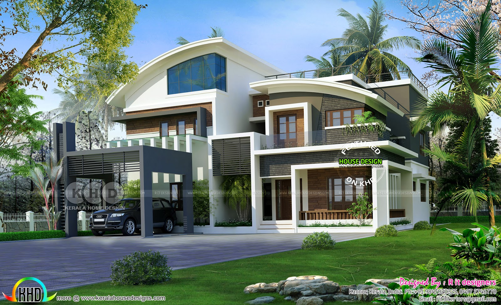Luxurious curvy roof 6 bedroom home kerala home design for 6 bedroom modern house plans