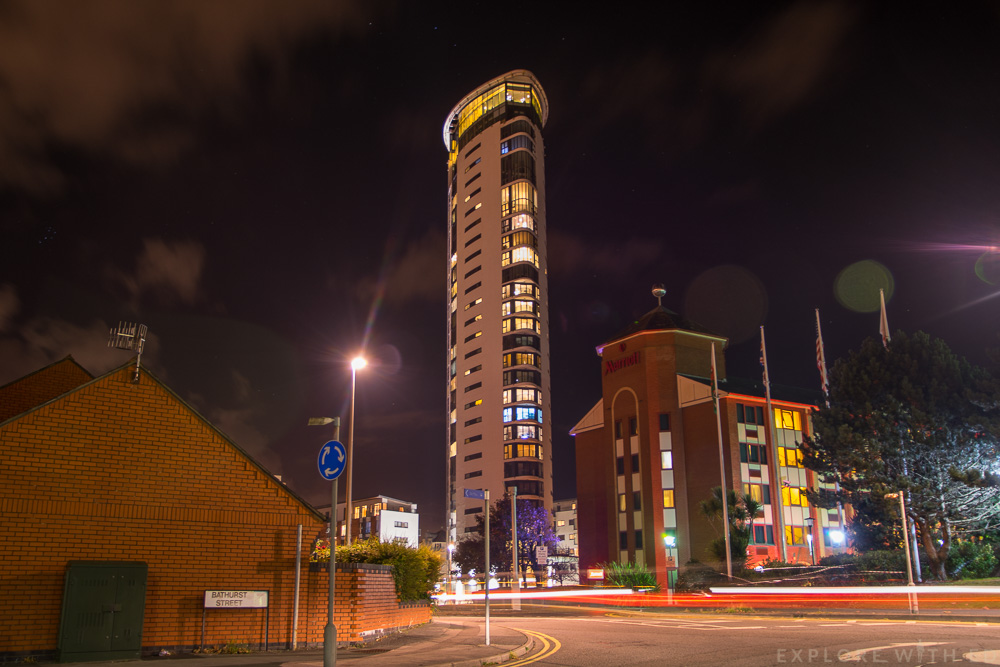 Meridian Tower in Swansea Marina, the tallest building in Wales