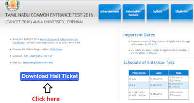 TANCET MBA 2016 Hall Ticket