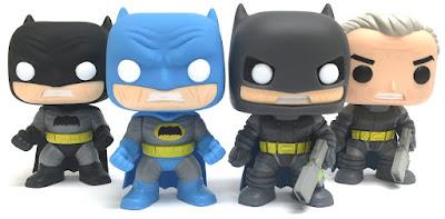 "Batman: The Dark Knight Returns Pop! Vinyl Figures by Funko - ""Blue"" Batman, ""Black"" Batman, Armored Batman & ""Unmasked"" Armored Batman"