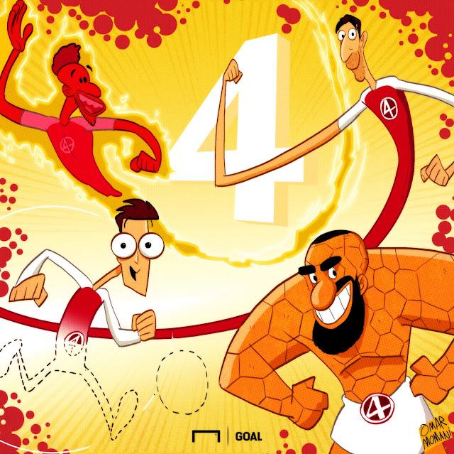 Pierre-Emerick Aubameyang, Henrikh Mkhitaryan, Ozil, Alexandre Lacazette cartoon