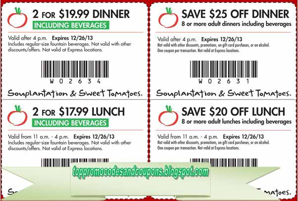 photograph about Souplantation Printable Coupons named Souplantation discount codes june 2018 - Fresh Sale