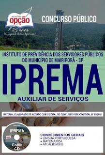 Download Apostila IPREMA 2018 PDF - Auxiliar de Serviços