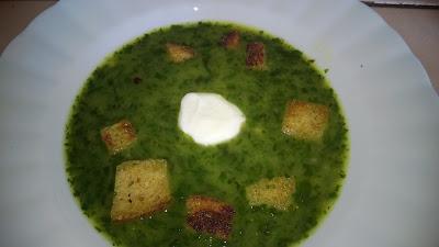 Frisch gekochte Bärlauch Suppe