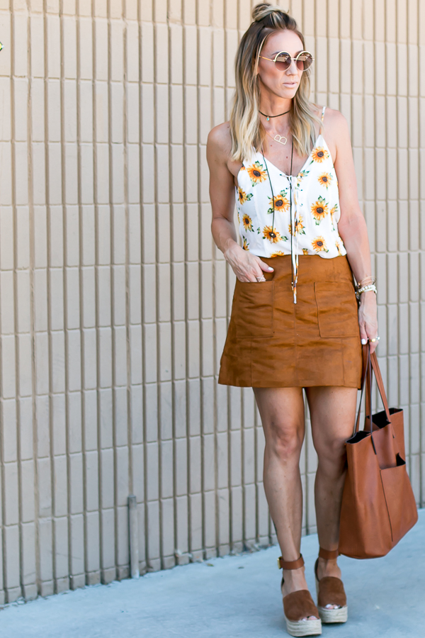 sunflower top romper suede skirt