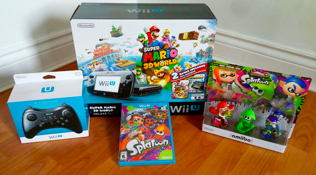 Nintendo Wii U Super Mario 3D World Bundle Splatoon Amiibo Pro Controller