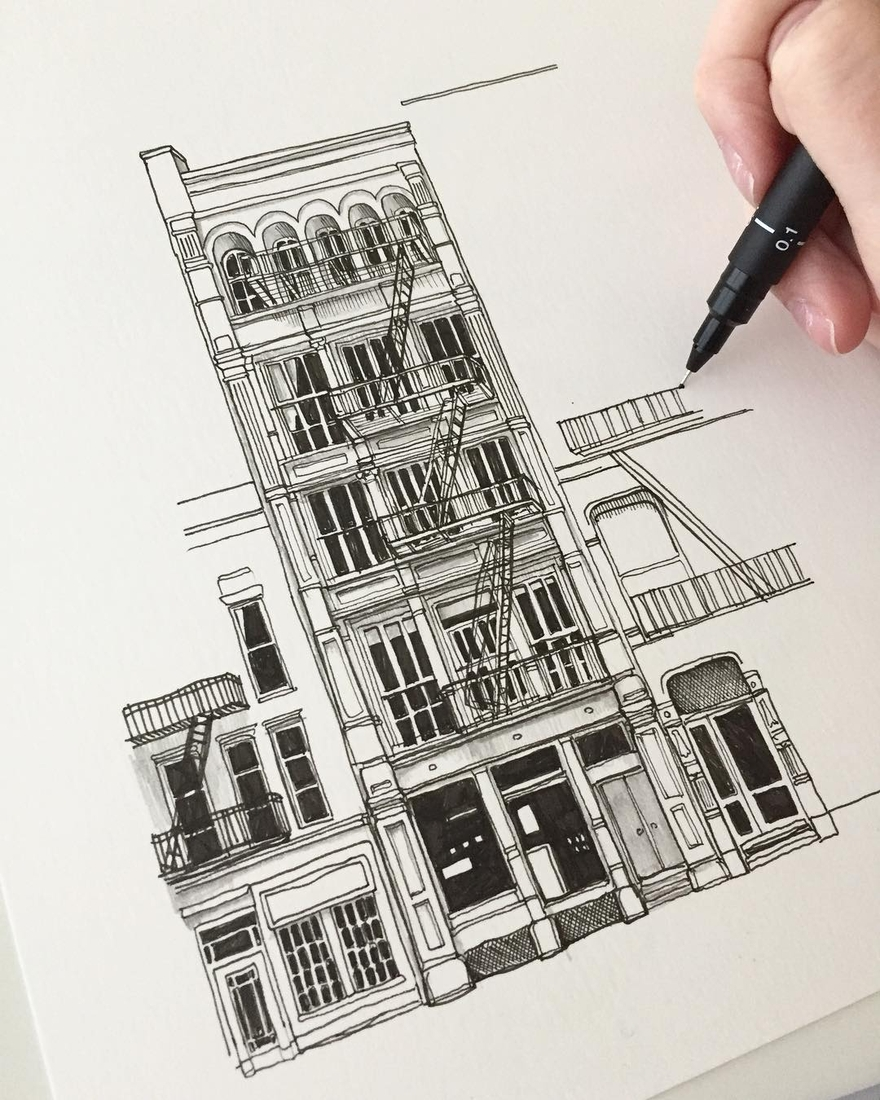 09-Fire-Escape-WIP-Phoebe-Atkey-Urban-Sketcher-Architectural-Building-Drawings-www-designstack-co