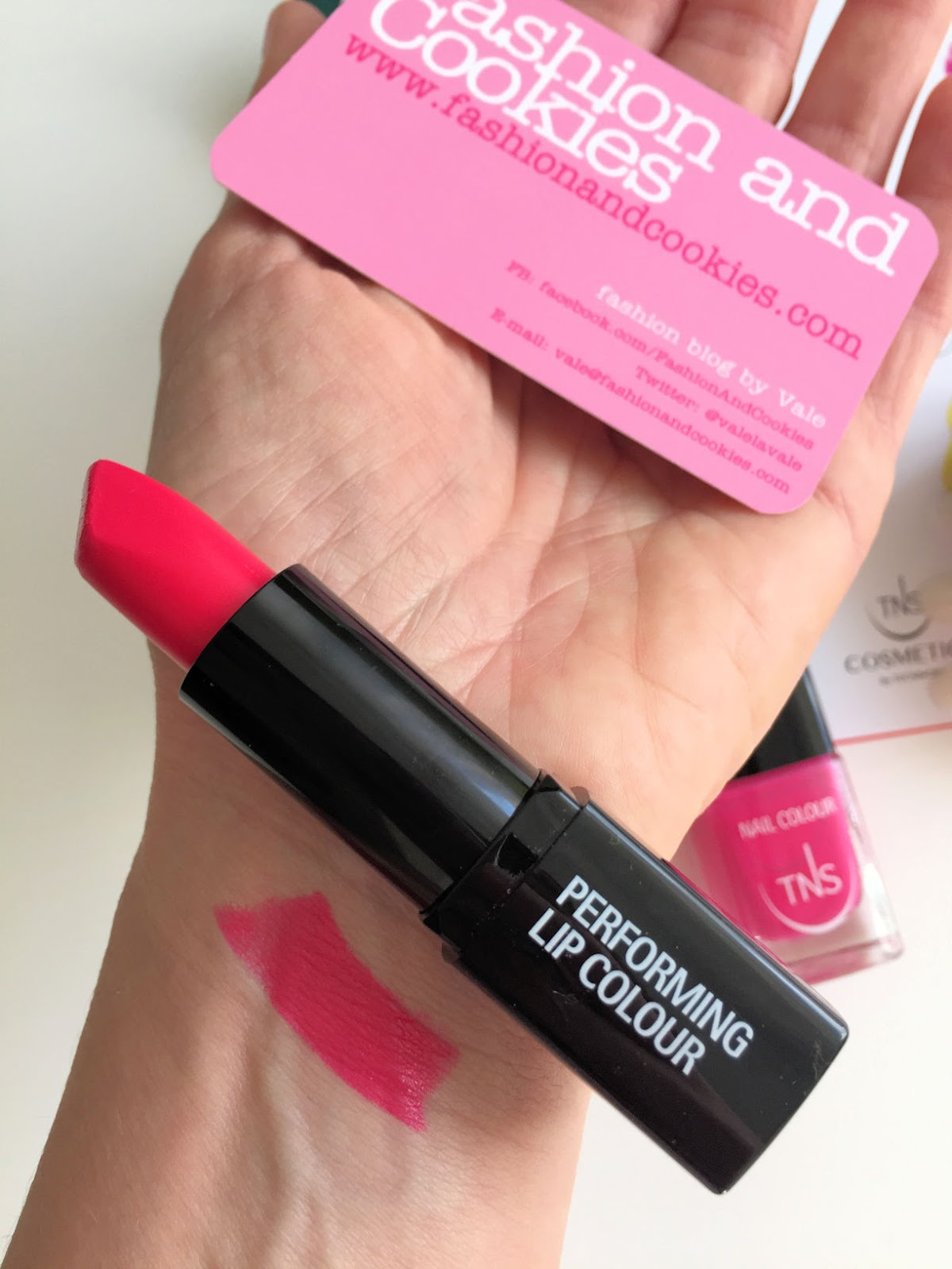 TNS Cosmetics Wild Flower lipstick swatch and review on Fashion and Cookies beauty blog, beauty blogger