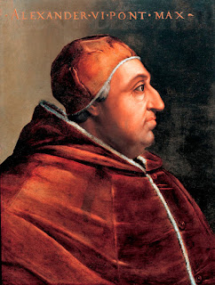 Pope Alexander VI: a portrait by Cristofano  dell' Altissimo, property of the Uffizzi Gallery