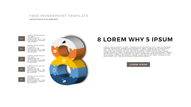 3D Puzzle Infographic Elements For PowerPoint Template with Number 8 in White Background