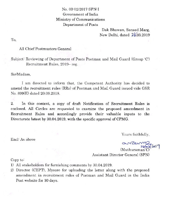Reviewing of Department of Posts POSTMAN & MAIL GUARD (Group'C') Recruitment Rules, 2019