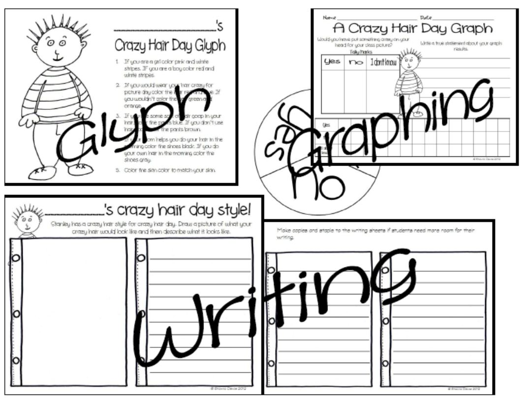 Crazy Hair Day Worksheet Centers T School Worksheets