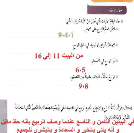 حل درس حلل الربيع في اللغة العربية للصف العاشرالفصل الثاني